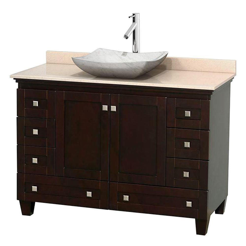 Acclaim 48-inch W Vanity in Espresso with Top in Ivory and White Carrara Sink
