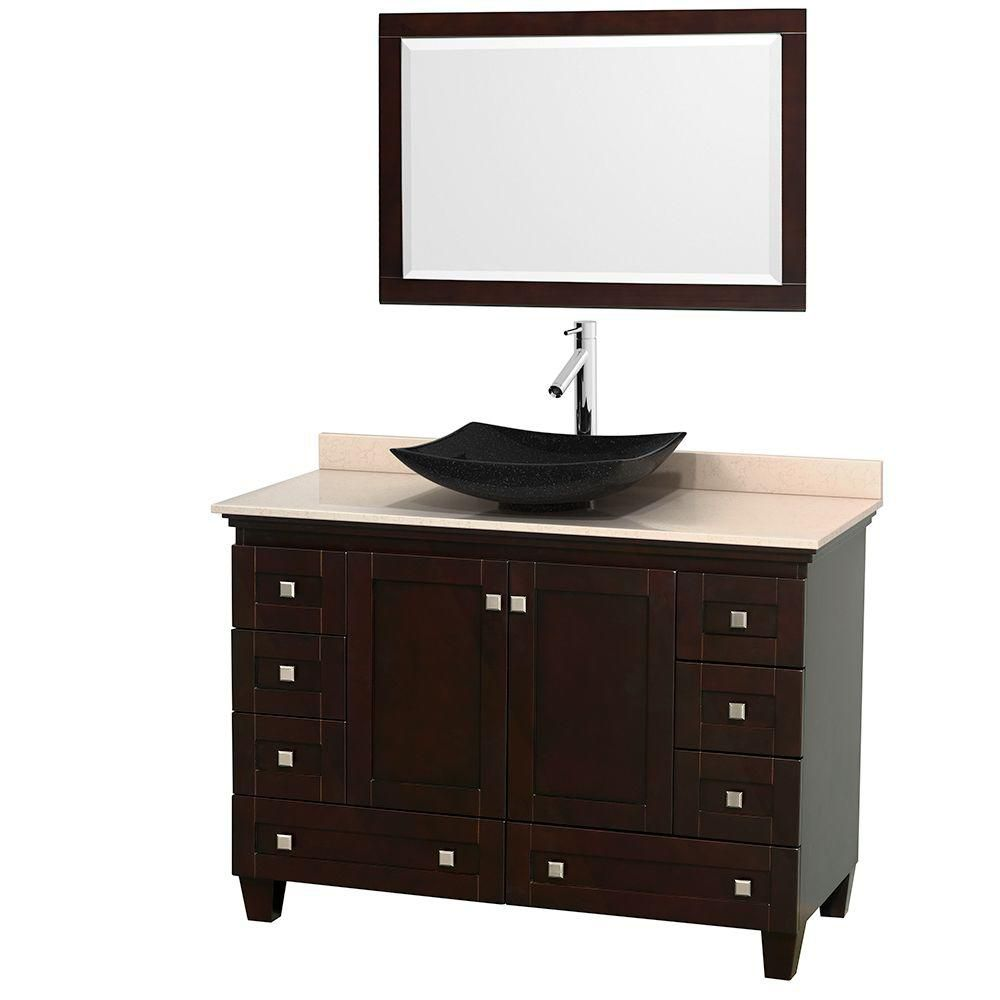 Acclaim 48-inch W Vanity in Espresso with Top in Ivory, Black Sink and Mirror