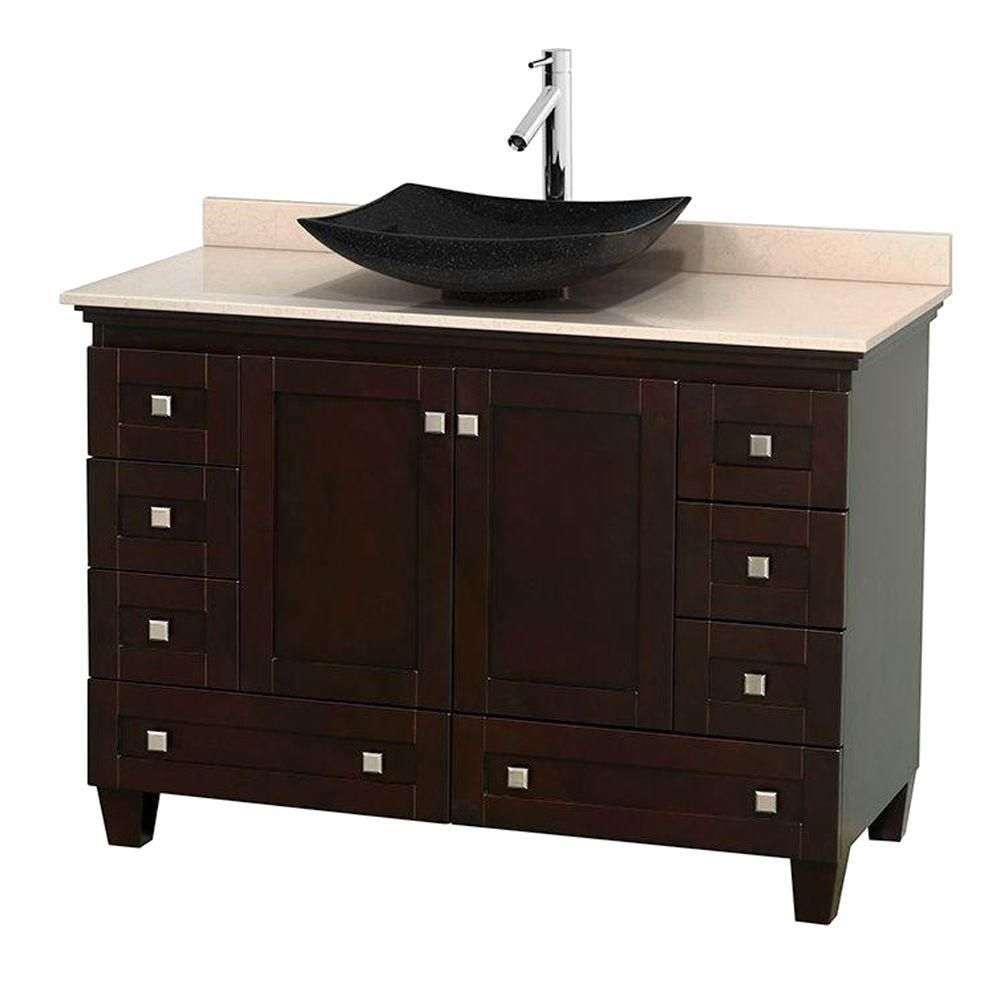 Acclaim 48-inch W Vanity in Espresso with Top in Ivory and Black Sink