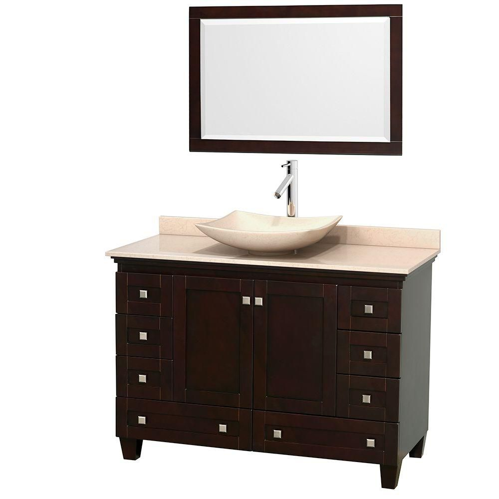 Acclaim 48-inch W Vanity in Espresso with Top in Ivory, Ivory Sink and Mirror