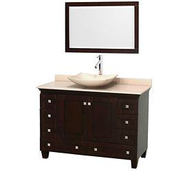 Wyndham Collection Acclaim 48-inch W 8-Drawer 2-Door Vanity in Brown With Marble Top in Beige Tan With Mirror