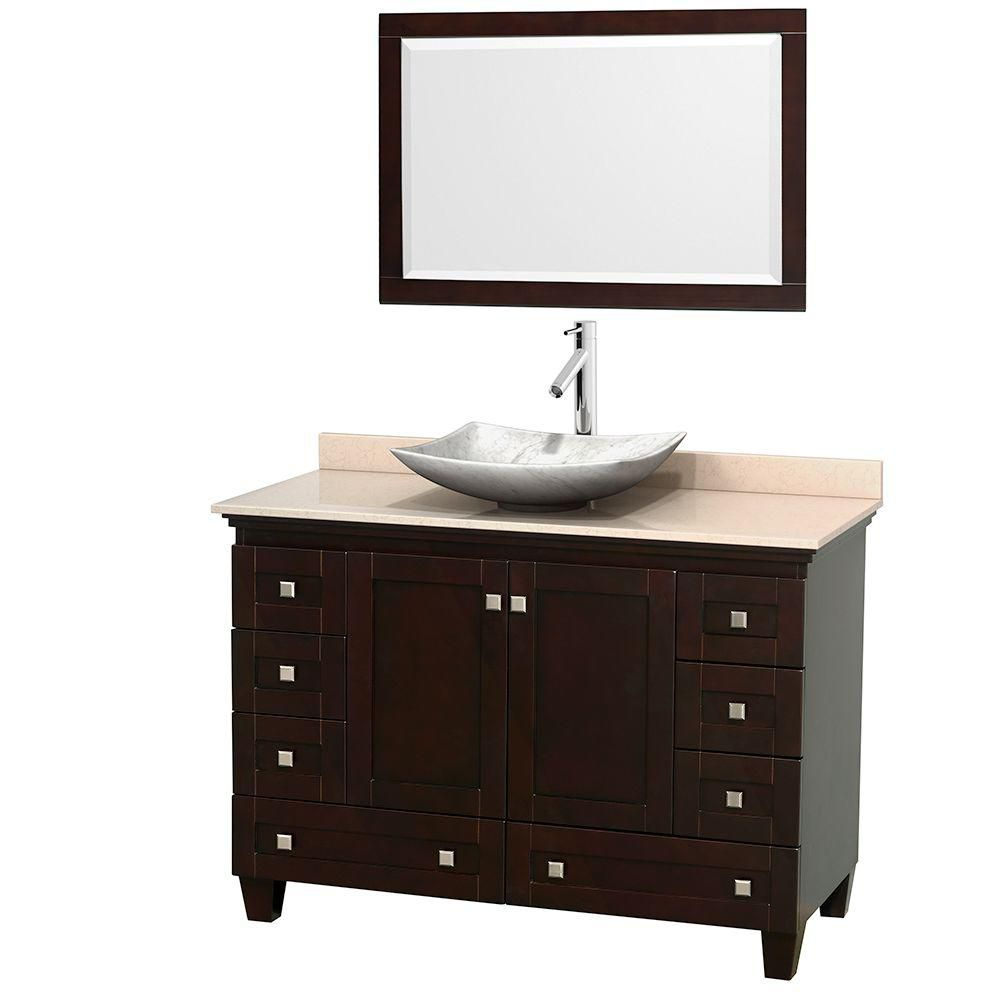Acclaim 48-inch W Vanity in Espresso with Top in Ivory, White Carrara Sink and Mirror