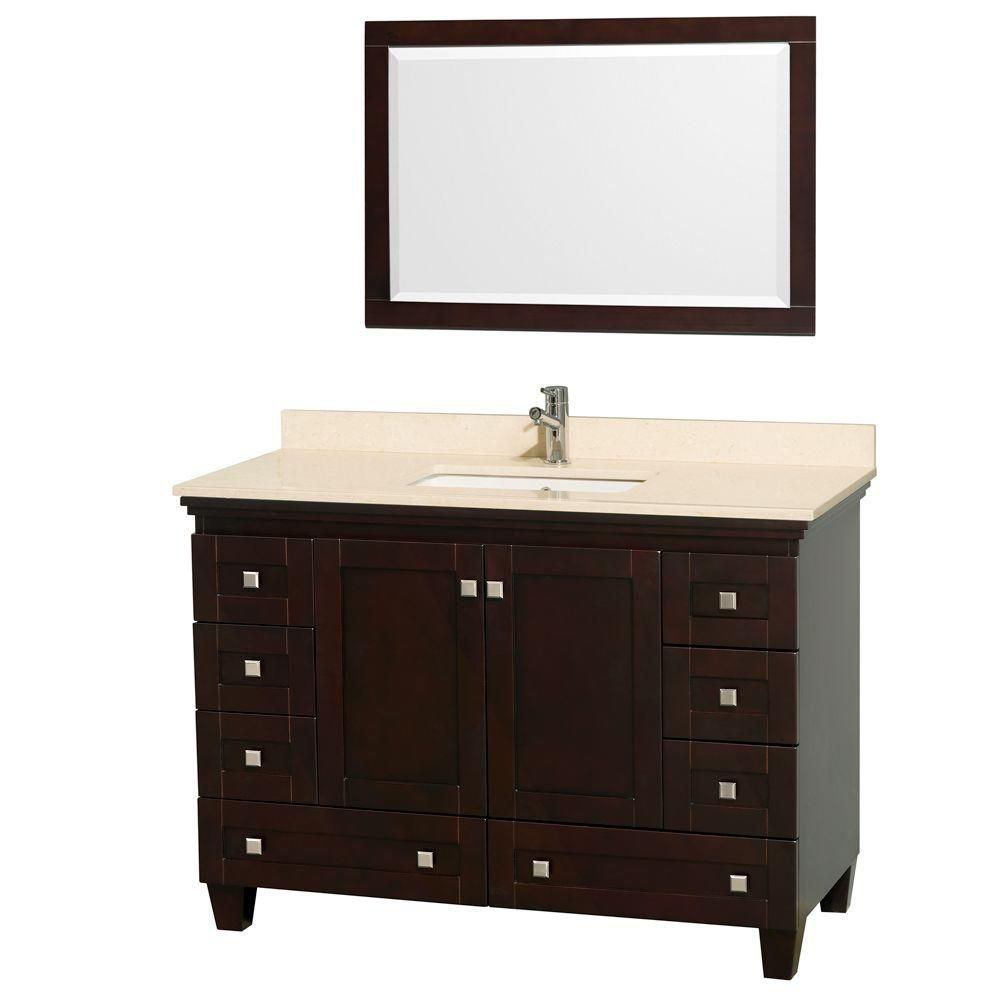 Acclaim 48-inch W Vanity in Espresso with Top in Ivory, Square Sink and Mirror