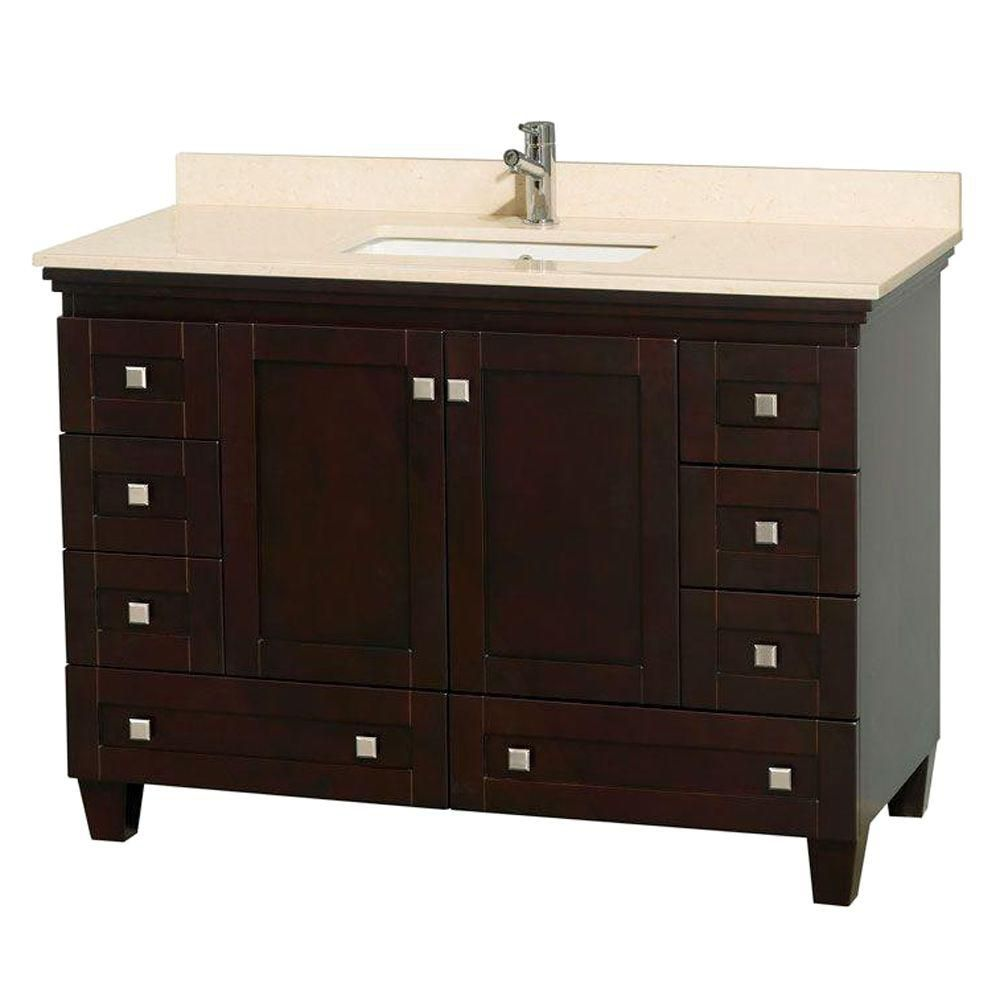 Acclaim 48-inch W Vanity in Espresso with Top in Ivory and Square Sink