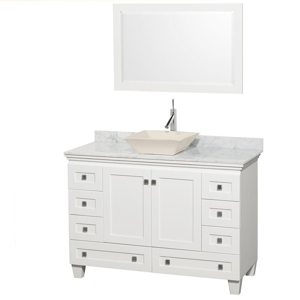 Acclaim 48-inch W Vanity in White with Top in Carrara White, Bone Sink and Mirror
