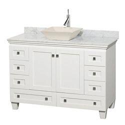 Wyndham Collection Acclaim 48 po Meuble blanc simple et revêtement blanc Carrare, évier couleur os et sans miroir