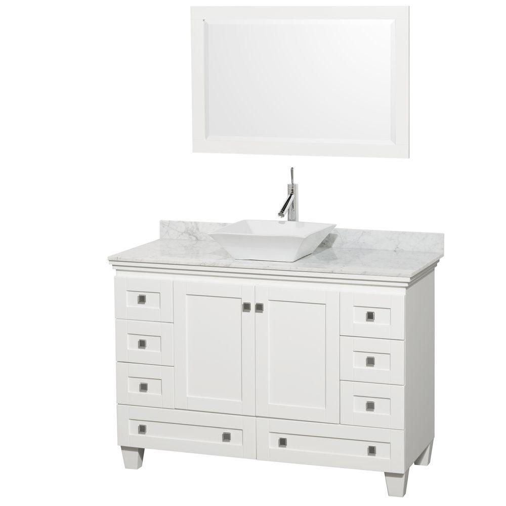 Acclaim 48-inch W Vanity in White with Top in Carrara White, White Sink and Mirror