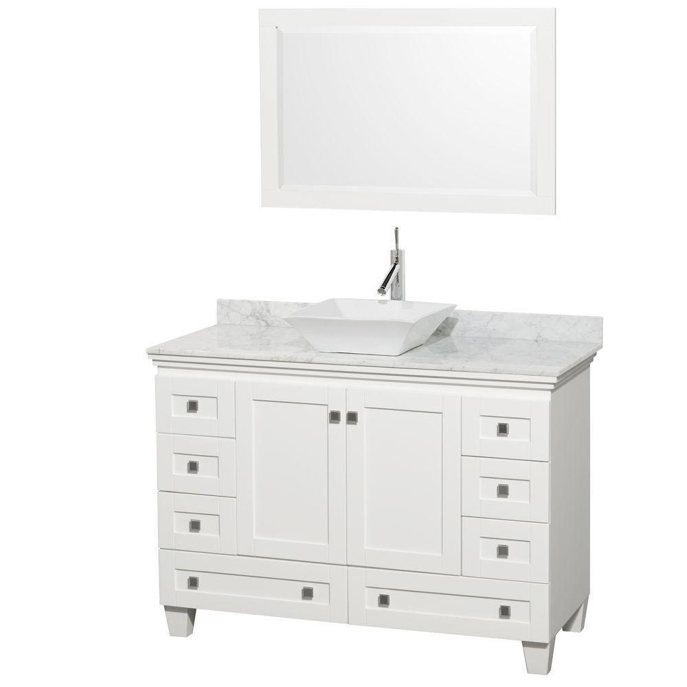 Acclaim 48 po Meuble blanc simple avec revêtement blanc Carrare, évier blanc et miroir