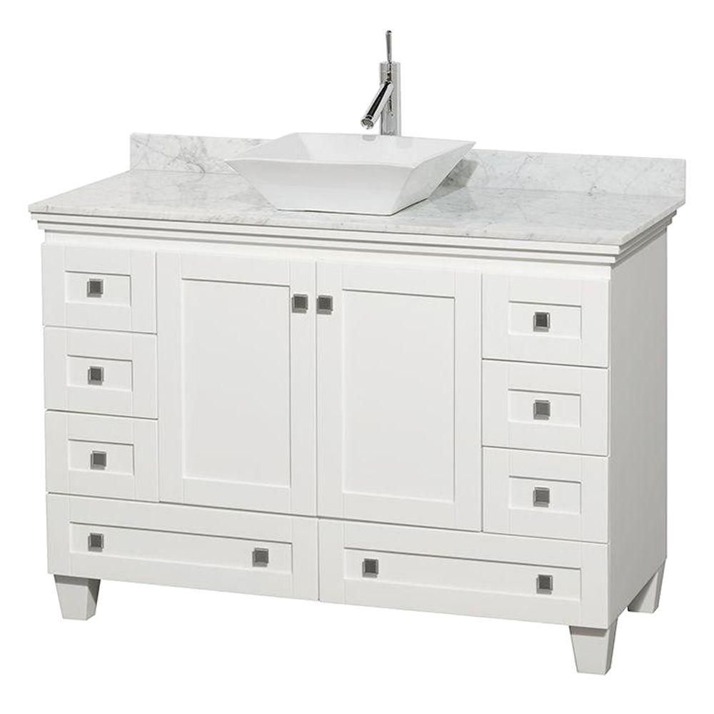 Wyndham Collection Acclaim 48-inch W 8-Drawer 2-Door Freestanding Vanity in White With Marble Top in White