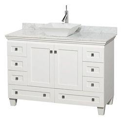 Wyndham Collection Acclaim 48 po Meuble blanc simple avec revêtement blanc Carrare, évier blanc et sans miroir