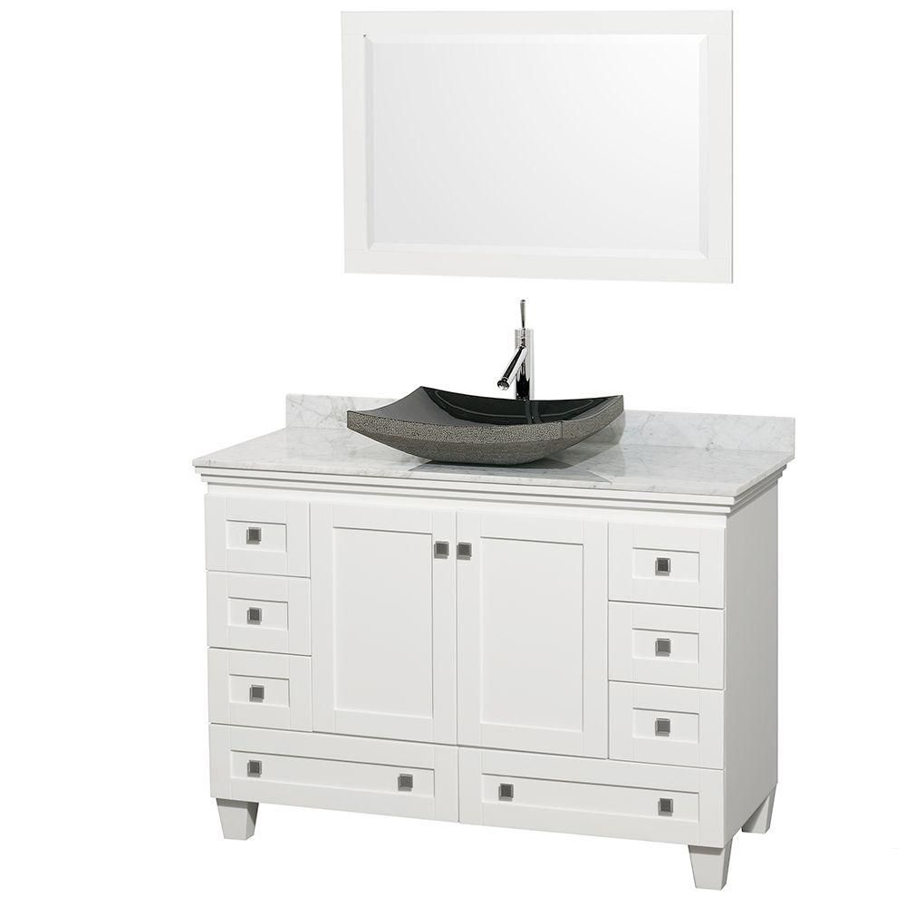 Acclaim 48-inch W Vanity in White with Top in Carrara White, Black Sink and Mirror