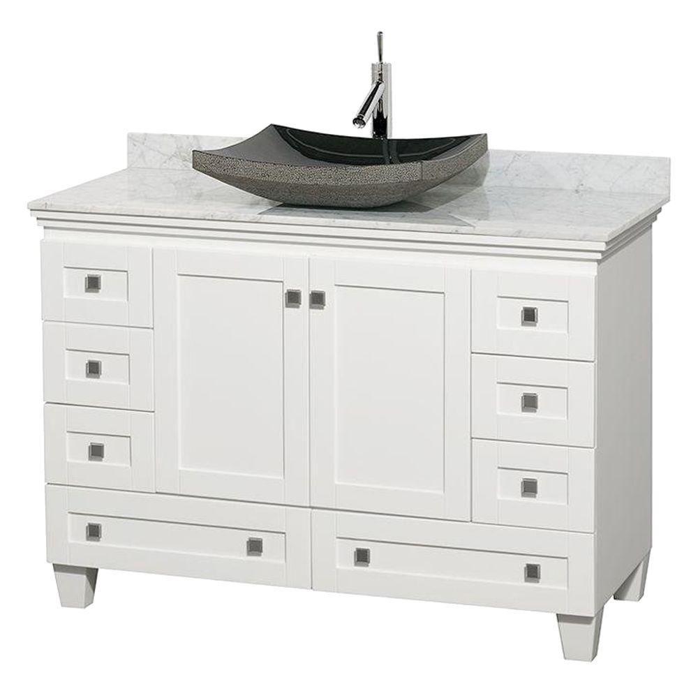Acclaim 48 po Meuble blanc simple avec revêtement blanc Carrare, évier noir et sans miroir