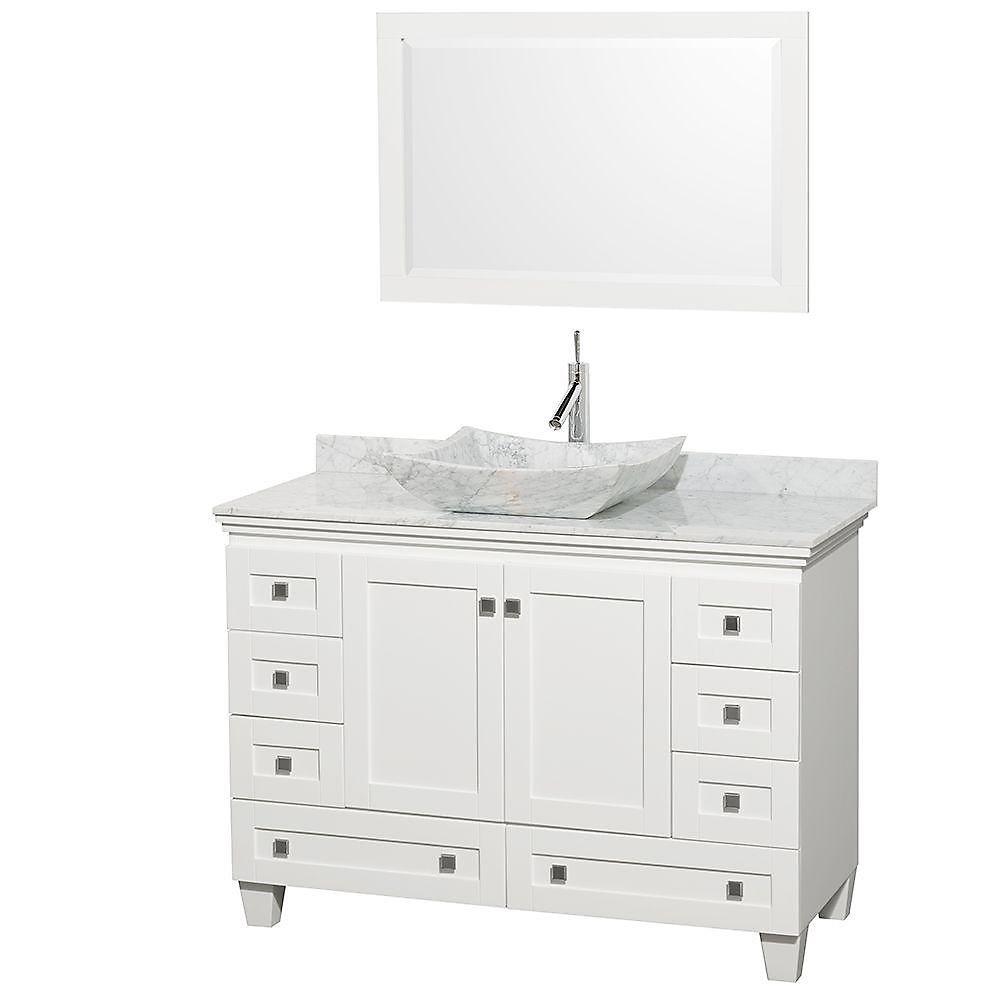 Acclaim 48 po Meuble blanc simple et revêtement blanc Carrare, évier Carrare blanc et miroir