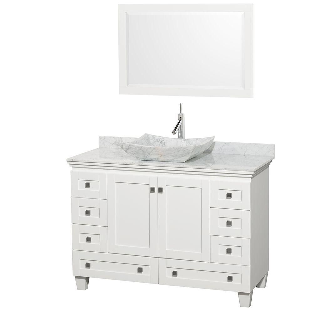 Acclaim 48-inch W Vanity in White with Top in Carrara White and White Carrara Sink