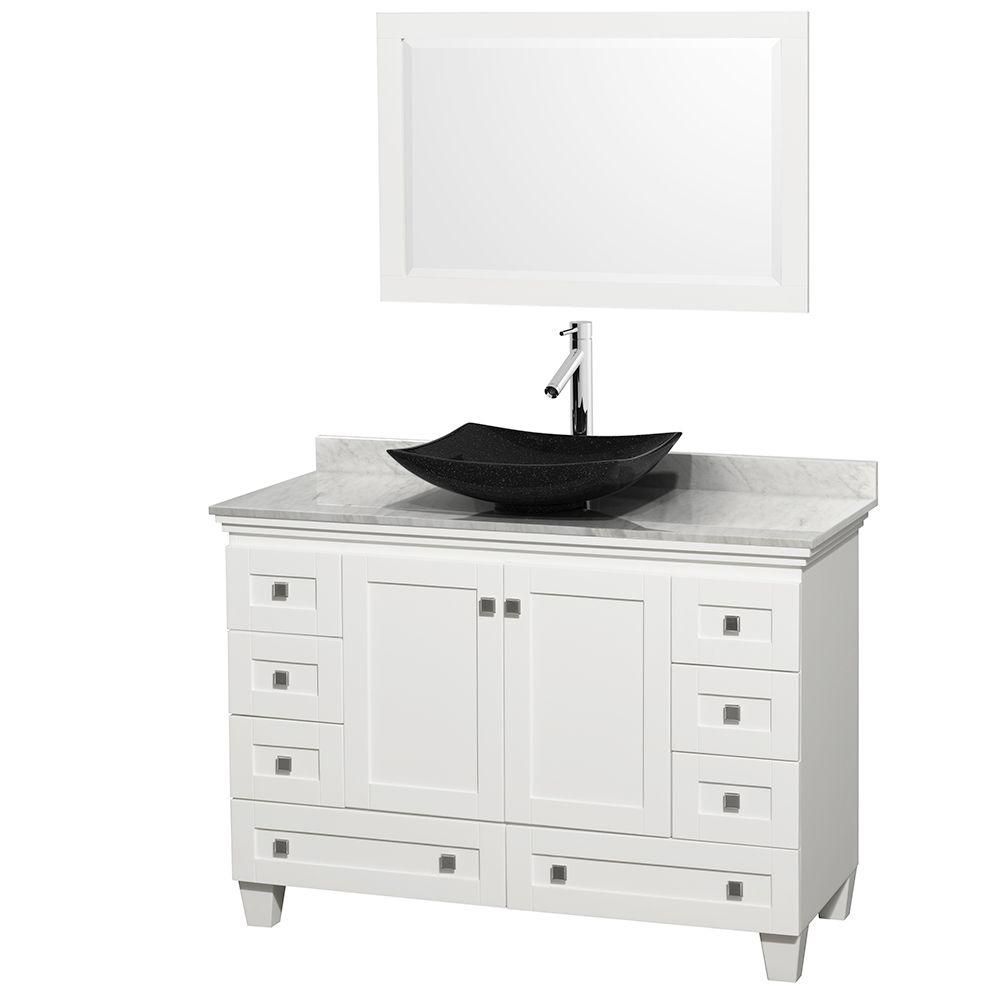 Wyndham Collection Acclaim 48-inch W 8-Drawer 2-Door Freestanding Vanity in White With Marble Top in White With Mirror