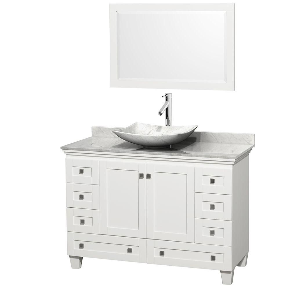 Acclaim 48-inch W Vanity in White with Top in Carrara White, White Carrara Sink and Mirror