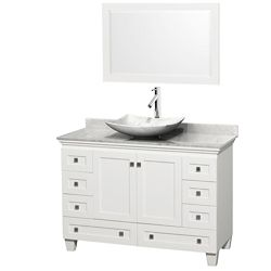 Wyndham Collection Acclaim 48 po Meuble blanc simple et revêtement blanc Carrare, évier Carrare blanc et sans miroir