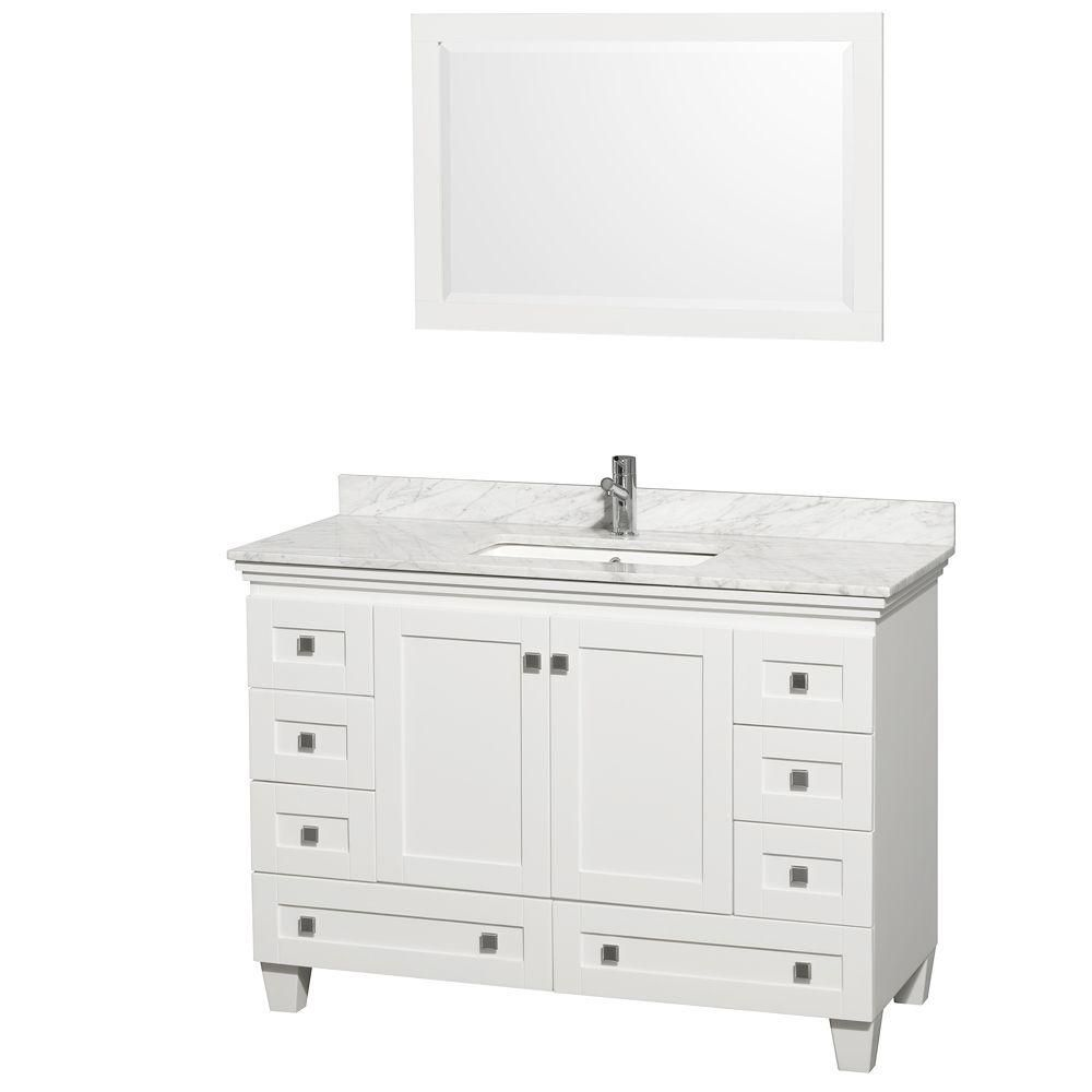 Acclaim 48-inch W Vanity in White with Top in Carrara White and Mirror