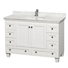 Acclaim 48-inch Vanity in White with Marble Vanity Top in Carrara White and Square Sink