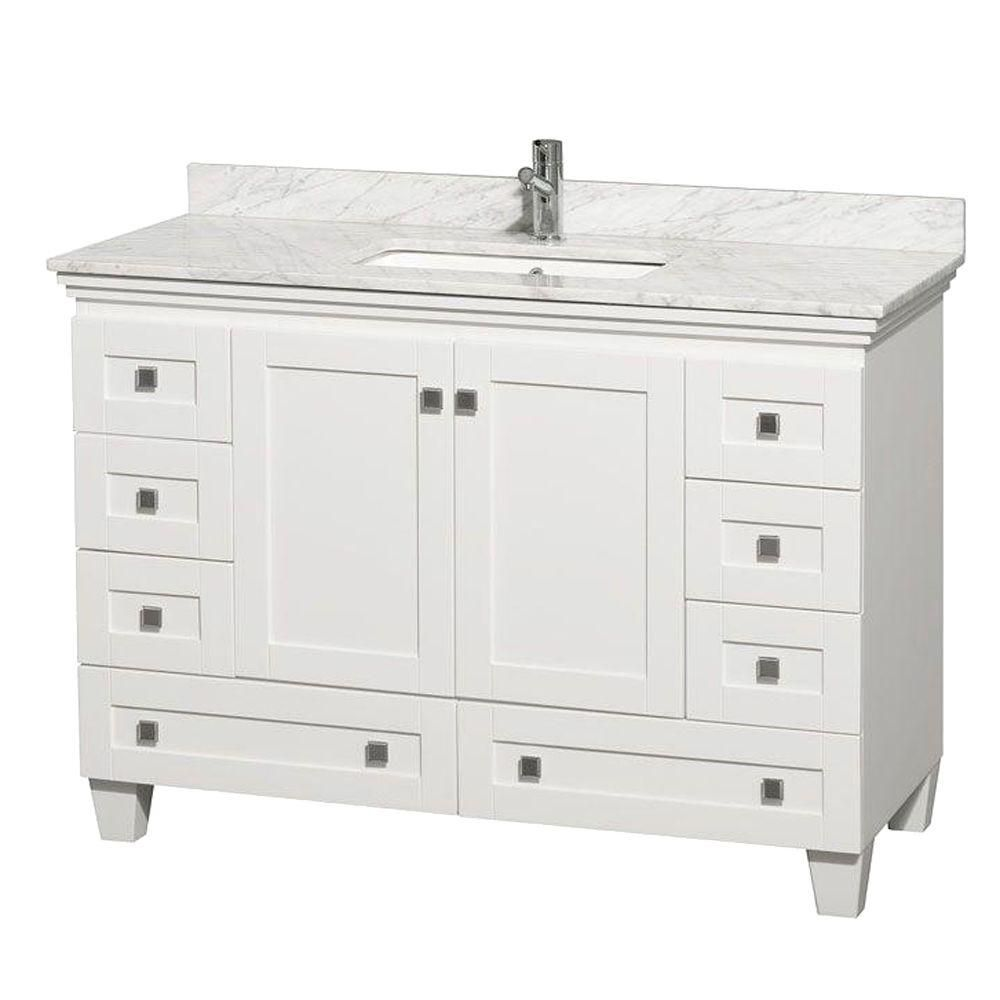 Acclaim 48-inch W Vanity in White with Top in Carrara White and Square Sink