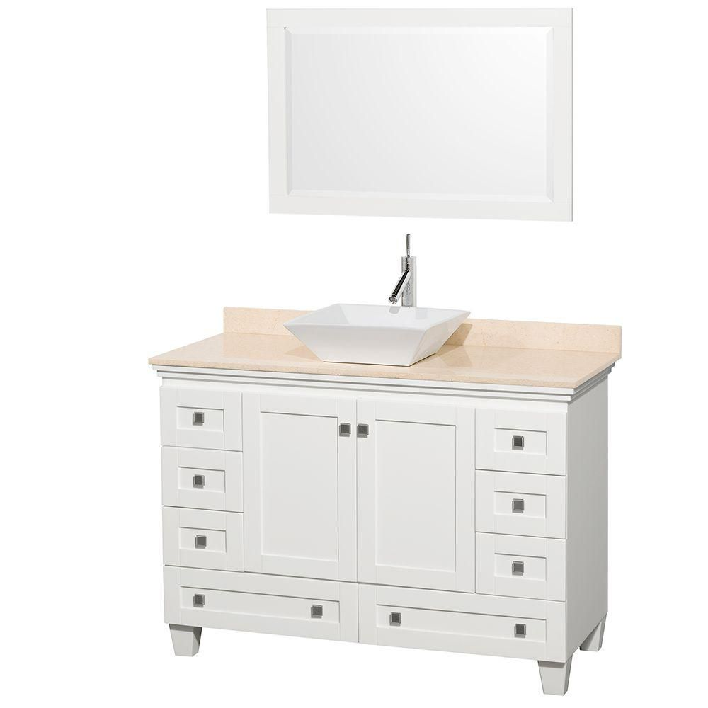 Acclaim 48-inch W Vanity in White with Marble Top in Ivory with White Basin and Mirror