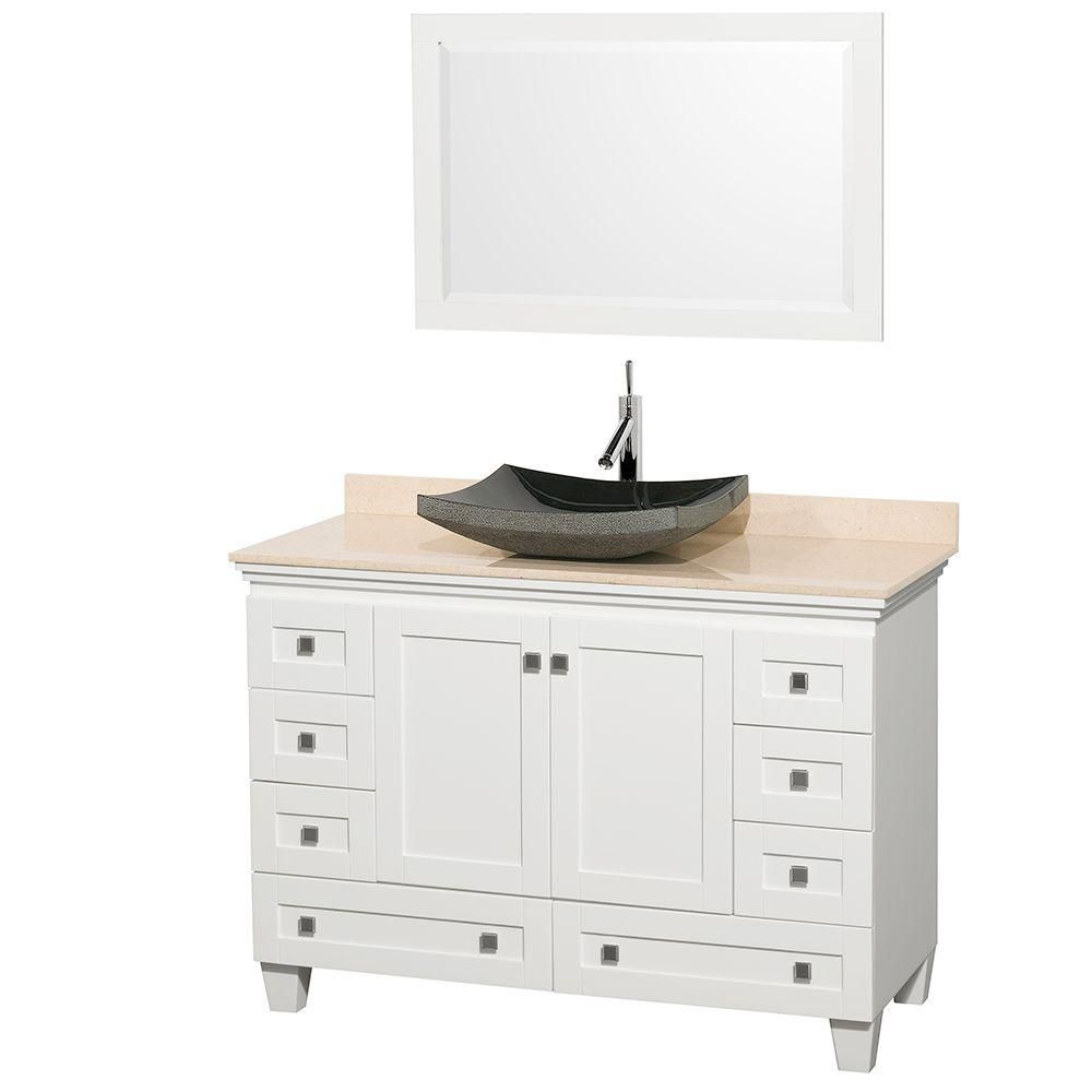 Acclaim 48-inch W Vanity in White with Marble Top in Ivory with Black Basin and Mirror