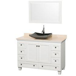 Wyndham Collection Acclaim 48 po Meuble simple blanc avec revêtement ivoire, évier noir et miroir