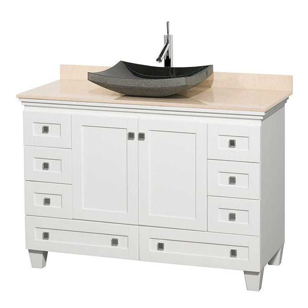 Acclaim 48-inch W Vanity in White with Marble Top in Ivory with Black Basin