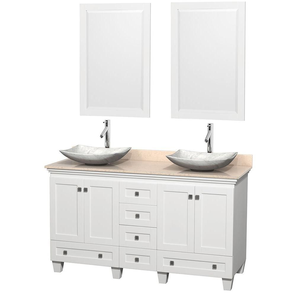 Acclaim 60-inch W Double Vanity in White with Marble Top in Ivory with White Basins and Mirrors