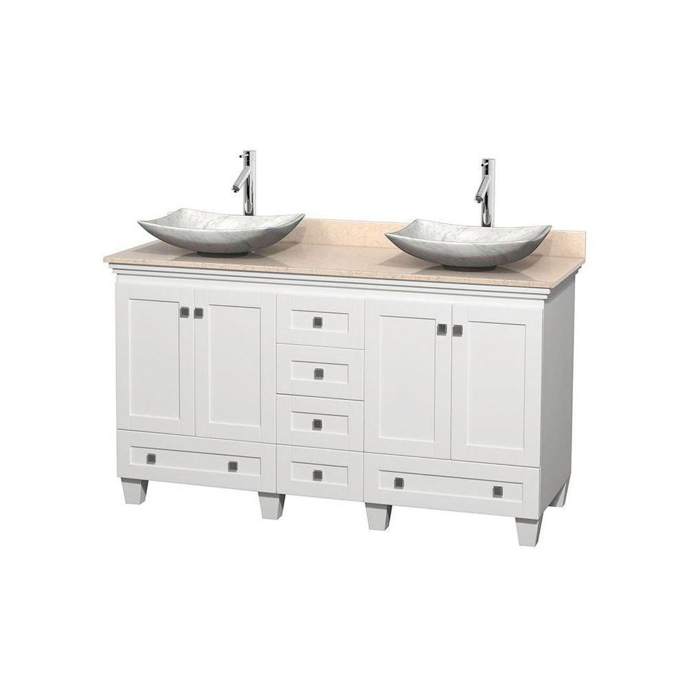 Acclaim 60-inch W Double Vanity in White with Marble Top in Ivory with White Basins