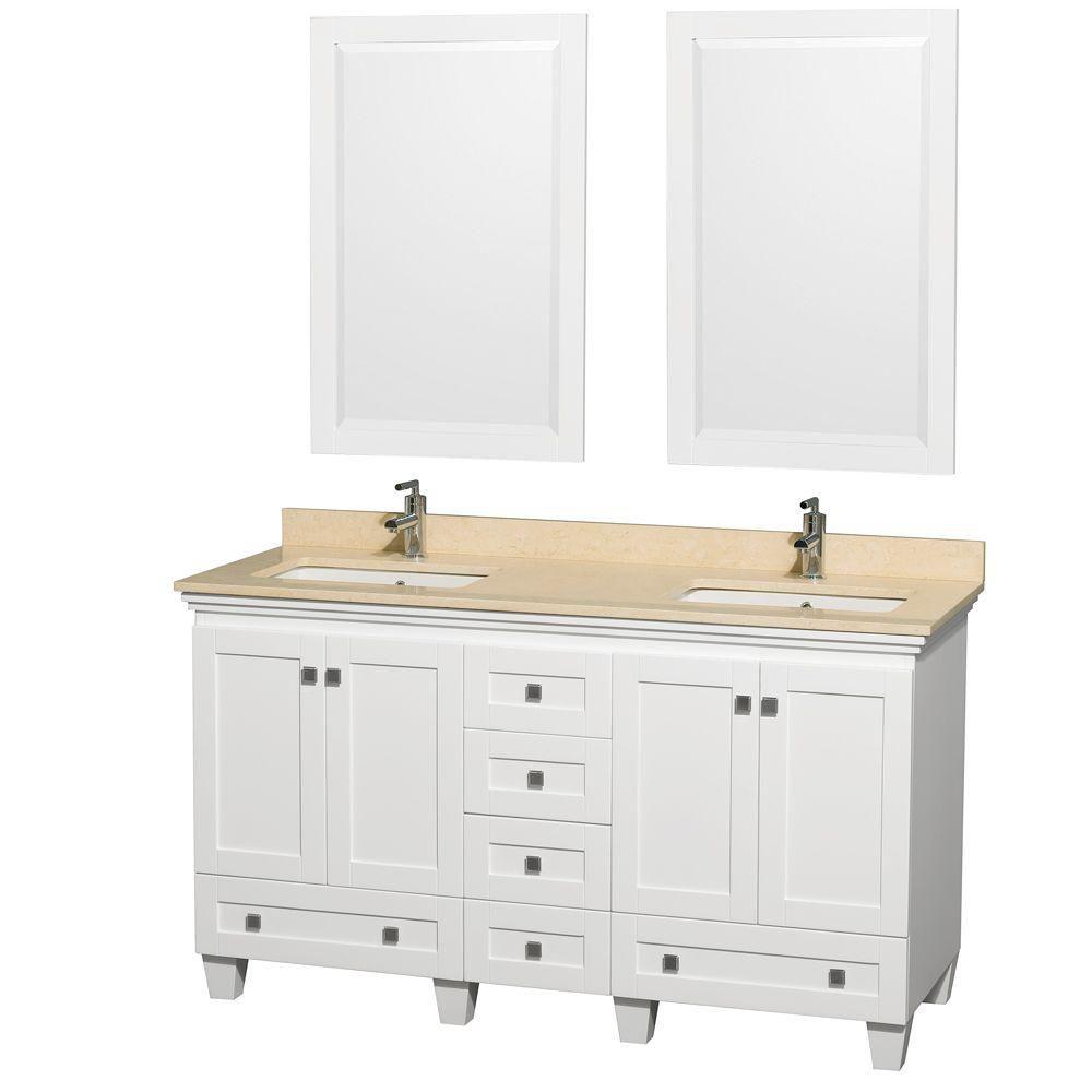 Acclaim 60 po Meuble double blanc avec revêtement ivoire, éviers carrés et miroirs
