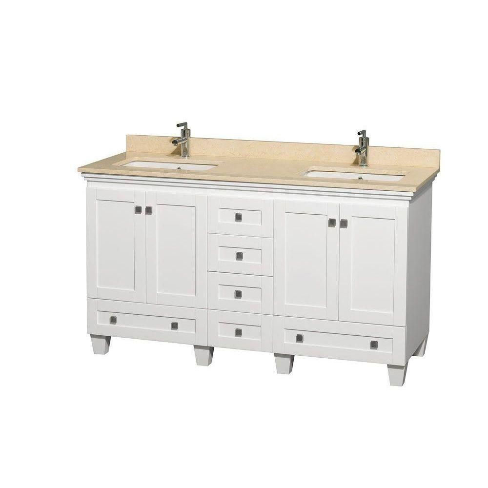 Acclaim 60-inch W Double Vanity in White with Marble Top in Ivory with Square Basins