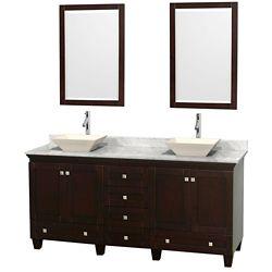 Wyndham Collection Acclaim 72 po Meuble dbl. espresso et revêtement blanc Carrare, éviers couleur os et miroirs