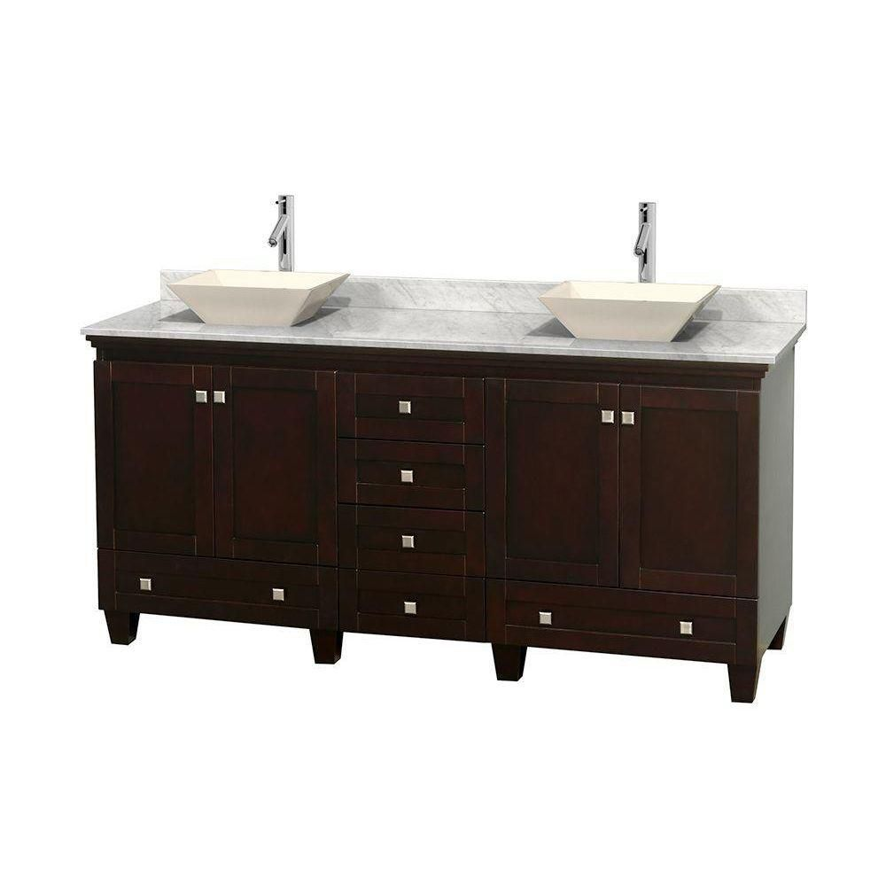 Acclaim 72-inch W Double Vanity in Espresso with White Top with Bone Basins