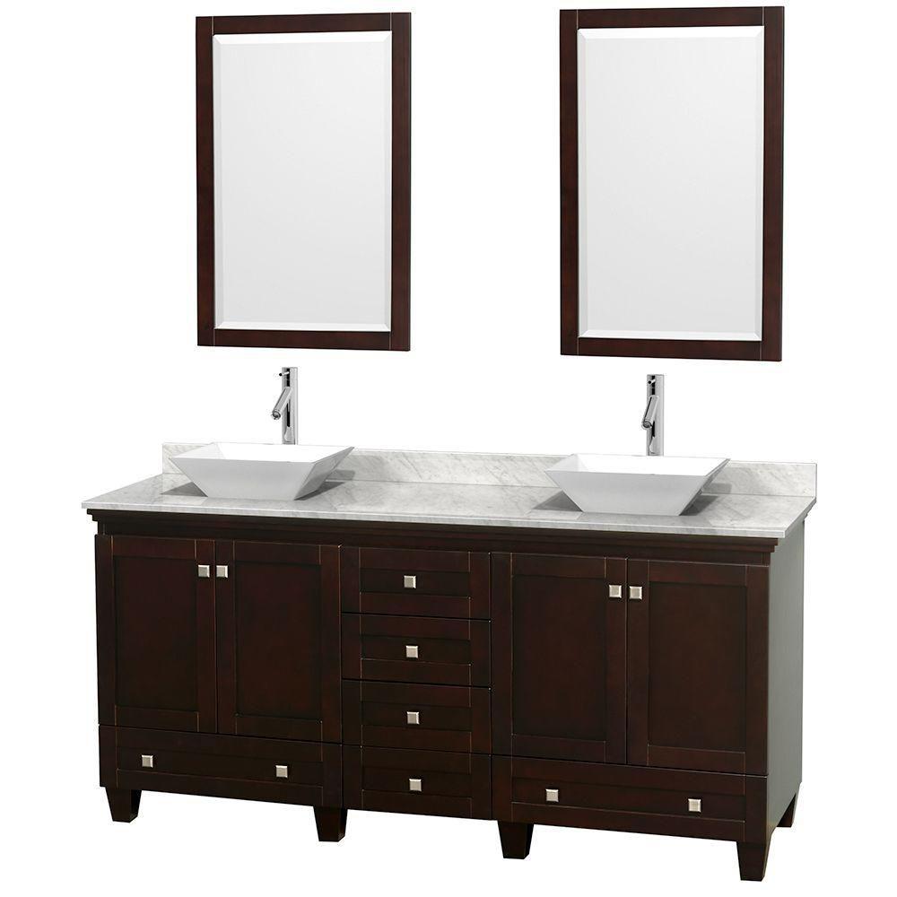 Acclaim 72 po Meuble double espresso avec revêtement blanc Carrare, éviers blancs et miroirs