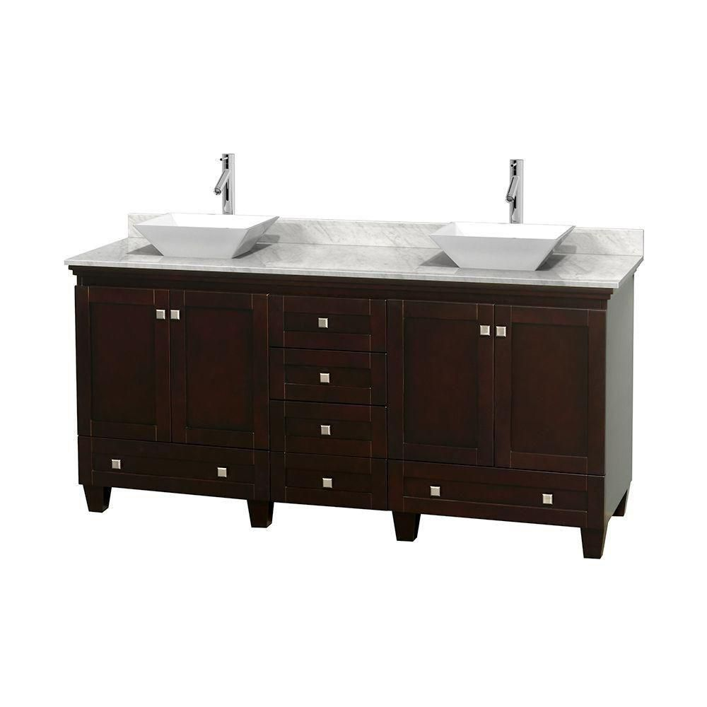 Acclaim 72-inch W 6-Drawer 4-Door Vanity in Brown With Marble Top in White, Double Basins