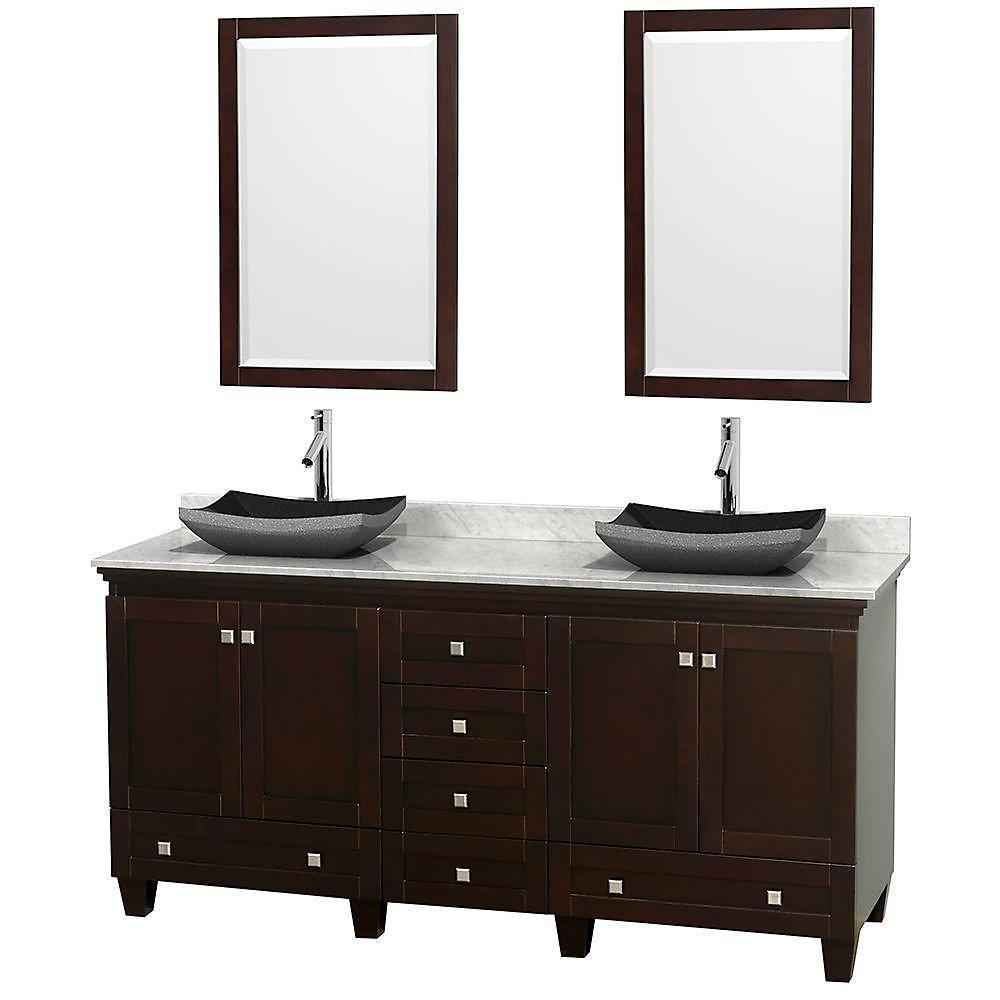 Acclaim 72 po Meuble double espresso avec revêtement blanc Carrare, éviers noirs et miroirs