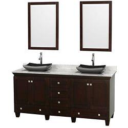 Wyndham Collection Acclaim 72 po Meuble double espresso avec revêtement blanc Carrare, éviers noirs et miroirs