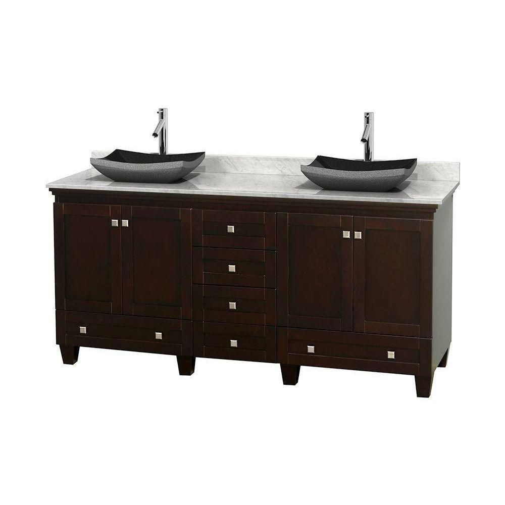 Acclaim 72-inch W Double Vanity in Espresso with White Top with Black Basins