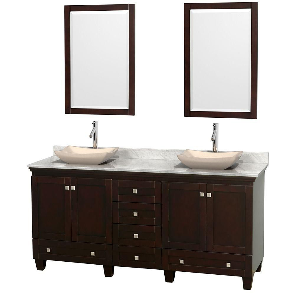 Acclaim 72-inch W Double Vanity in Espresso with White Top with Ivory Basins and Mirrors