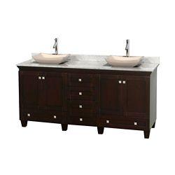 Wyndham Collection Acclaim 72 po Meuble dbl. espresso et revêtement blanc Carrare, éviers ivoire et sans miroirs