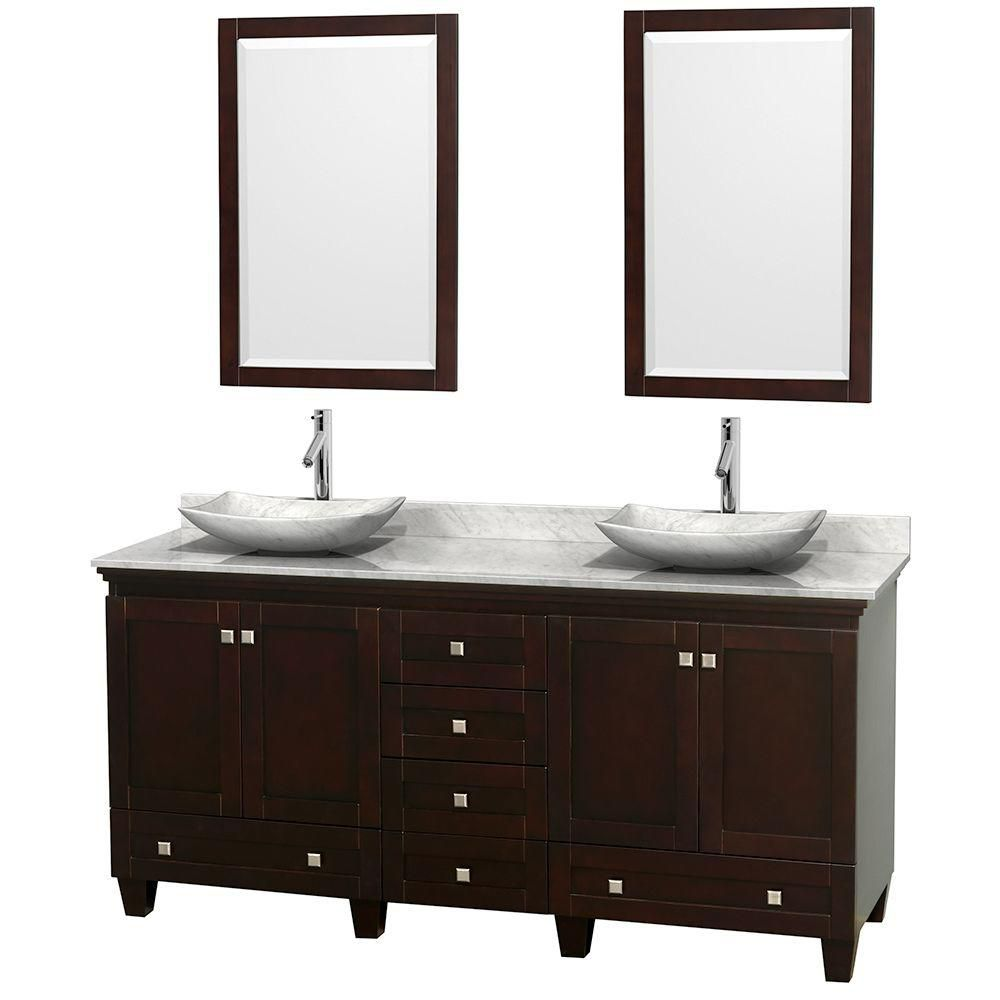 Acclaim 72-inch W Double Vanity in Espresso with White Top with White Basins and Mirrors