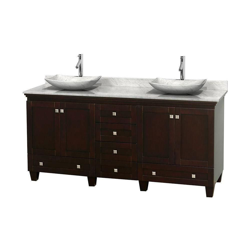 Wyndham Collection Acclaim 72-inch W 6-Drawer 4-Door Vanity in Brown With Marble Top in White, Double Basins