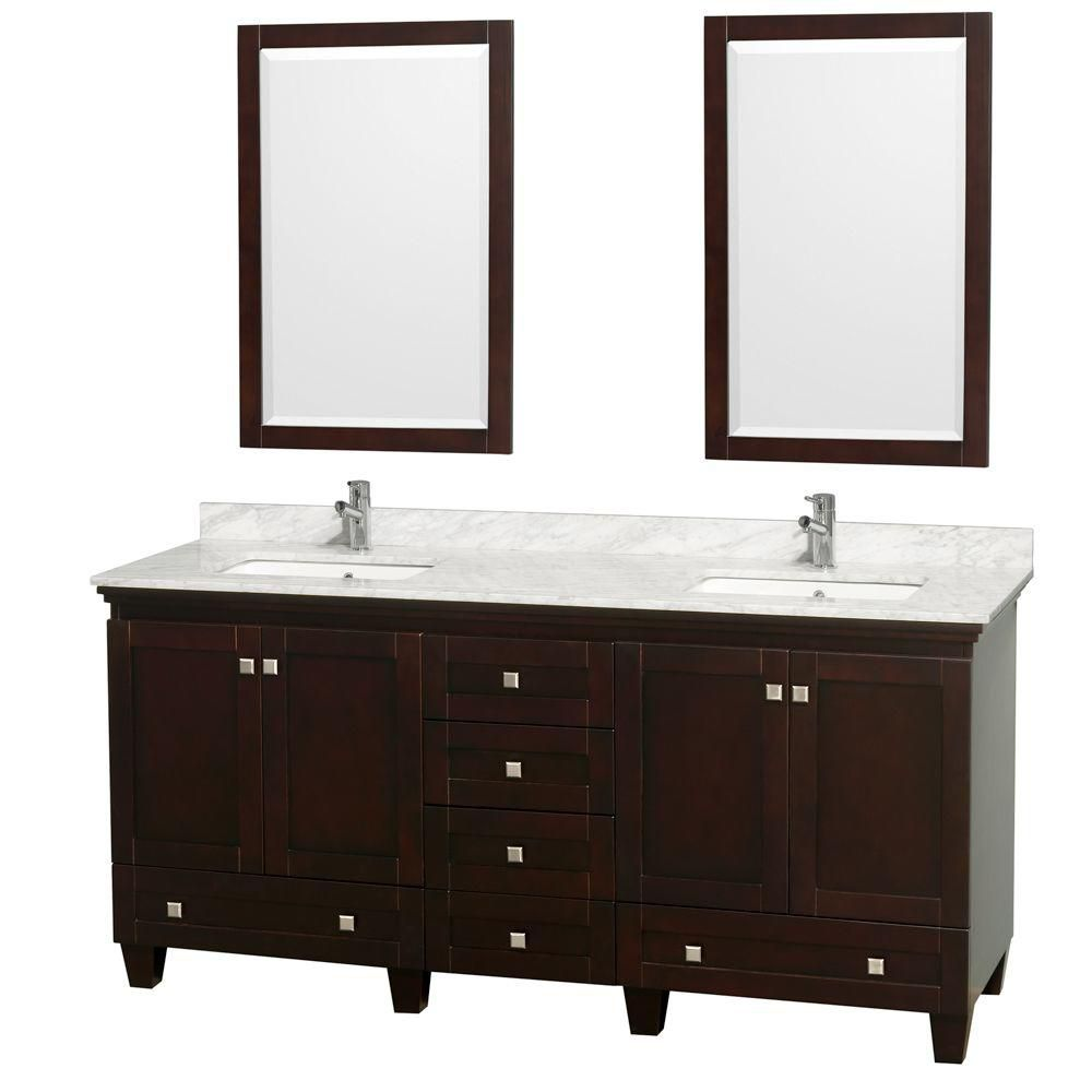 Wyndham Collection Acclaim 72-inch W 6-Drawer 4-Door Vanity in Brown With Marble Top in White, 2 Basins With Mirror