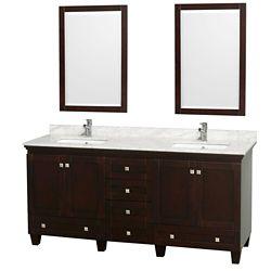 Wyndham Collection Acclaim 72 po Meuble double espresso avec revêtement blanc Carrare , éviers carrés et miroirs