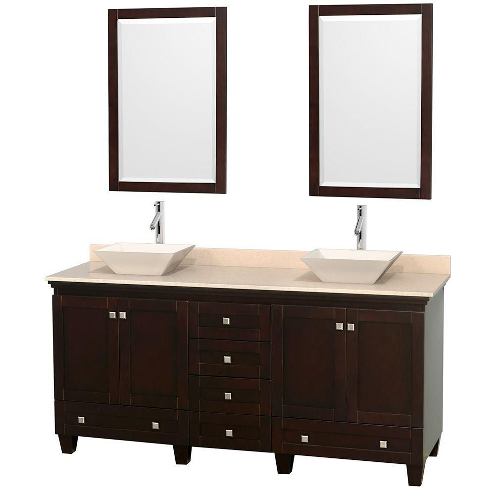 Acclaim 72-inch W Double Vanity in Espresso with Marble Top in Ivory with Bone Basins and Mirrors