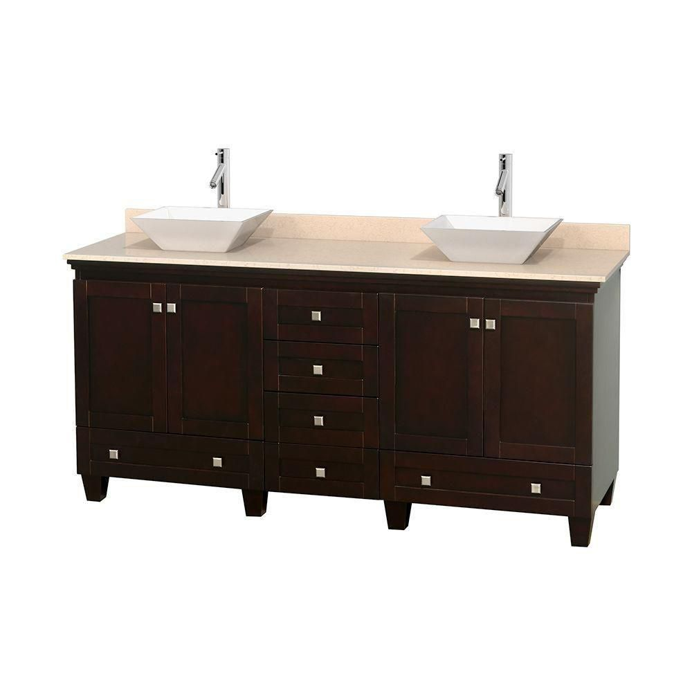 Acclaim 72-inch W Double Vanity in Espresso with Marble Top in Ivory with White Basins
