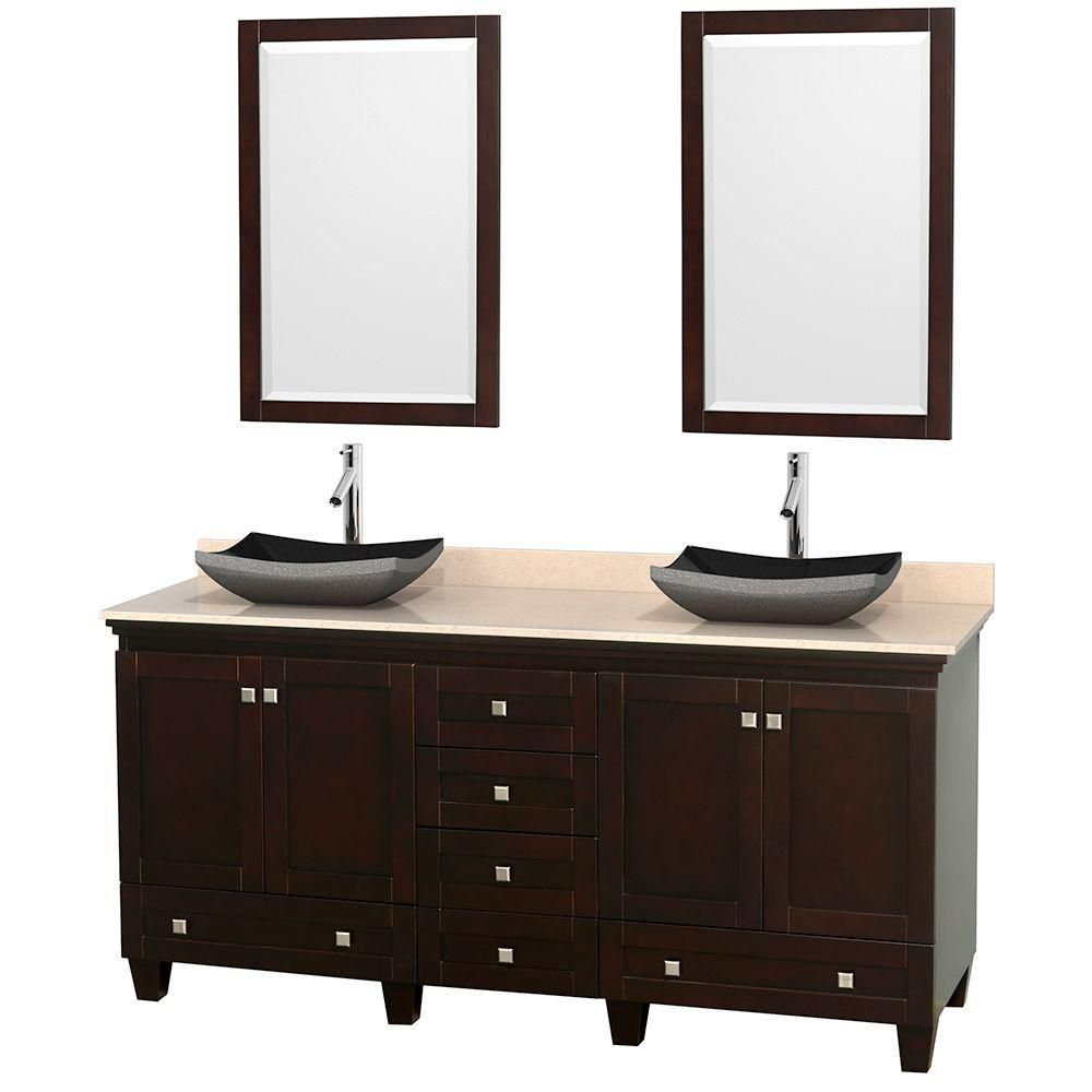 Acclaim 72-inch W Double Vanity in Espresso with Marble Top in Ivory with Black Basins and Mirror...