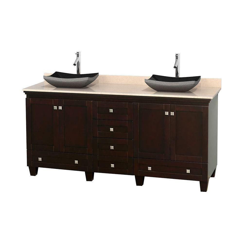 Acclaim 72-inch W Double Vanity in Espresso with Marble Top in Ivory with Black Basins