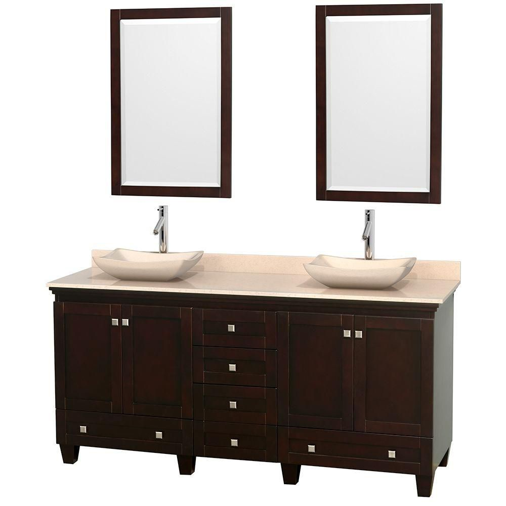 Acclaim 72-inch W Double Vanity in Espresso with Marble Top in Ivory with Ivory Basins and Mirror...